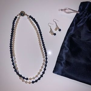 costume jewelry pearl necklace & earrings set